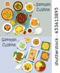 german cuisine lunch icon set.... | Shutterstock .eps vector #653613895