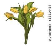 yellow tulips bouquet in... | Shutterstock .eps vector #653614489