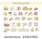 cartoon set of sketch little... | Shutterstock .eps vector #653614501