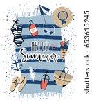 hello summer print | Shutterstock .eps vector #653615245
