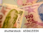 close up turkish lira currency... | Shutterstock . vector #653615554