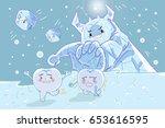 cute cartoon tooth feel afraid...   Shutterstock .eps vector #653616595