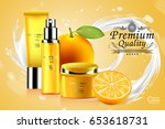 luxury cosmetic bottle package... | Shutterstock .eps vector #653618731