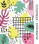 summer creative composition... | Shutterstock .eps vector #653620111