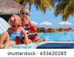 kids relax on tropical beach... | Shutterstock . vector #653620285