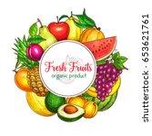 fresh fruits poster of summer...   Shutterstock .eps vector #653621761