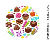 colourful fruit candies and... | Shutterstock .eps vector #653624647