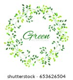 green wreath foliage background.... | Shutterstock .eps vector #653626504