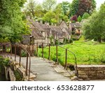 old footbridge and  traditional ... | Shutterstock . vector #653628877