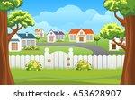 outdoor backyard background... | Shutterstock .eps vector #653628907