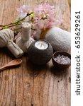 pink cherry flower  candle salt ... | Shutterstock . vector #653629261