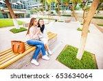 two girls taking selfie in a... | Shutterstock . vector #653634064