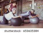 senior people workout in... | Shutterstock . vector #653635384