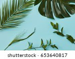 collection of a set of green... | Shutterstock . vector #653640817
