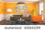 interior living room. 3d... | Shutterstock . vector #653642299