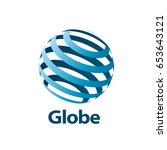vector logo globe | Shutterstock .eps vector #653643121