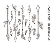 decorative arrows and feathers... | Shutterstock .eps vector #653646934