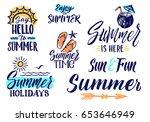 vector text letters for summer... | Shutterstock .eps vector #653646949