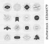 circle badges set with sunburst ... | Shutterstock .eps vector #653646979