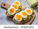 healthy breakfast   toast with... | Shutterstock . vector #653652391