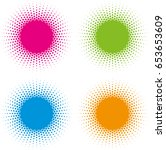 set of color halftone circle... | Shutterstock .eps vector #653653609