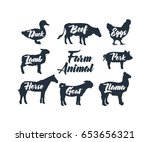 farm animal vector collection  | Shutterstock .eps vector #653656321