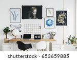 modern scandi room with double... | Shutterstock . vector #653659885