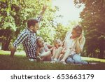 happy family sitting on grass...   Shutterstock . vector #653663179