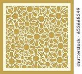 daisy flower ornament. laser... | Shutterstock .eps vector #653668249