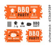 set of barbecue party labels ... | Shutterstock .eps vector #653669389