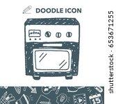 oven doodle | Shutterstock .eps vector #653671255