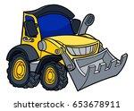 cartoon bulldozer digger... | Shutterstock .eps vector #653678911