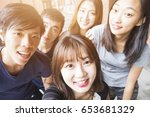 group of happy friends taking a ... | Shutterstock . vector #653681329