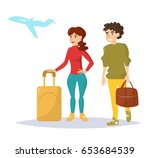 man and woman with luggage... | Shutterstock .eps vector #653684539