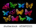 set of butterflies. vector | Shutterstock .eps vector #653692321