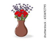 decorative bouquet with poppy... | Shutterstock .eps vector #653692795