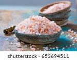 pink salt from the himalayas | Shutterstock . vector #653694511
