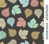 seamless pattern with forest... | Shutterstock .eps vector #653696281