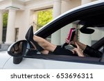 Woman Doing Selfie In The Car....