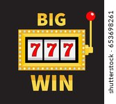 big win text slot machine.... | Shutterstock . vector #653698261