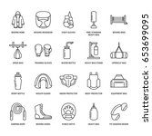 boxing vector line icons.... | Shutterstock .eps vector #653699095