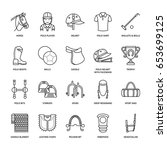 horse polo flat line icons.... | Shutterstock .eps vector #653699125
