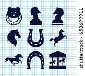 Set Of 9 Horse Filled Icons...