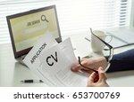 job seeker in home office.... | Shutterstock . vector #653700769