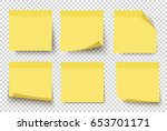 yellow sticky notes. vector... | Shutterstock .eps vector #653701171