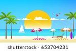 flat vector design of beach... | Shutterstock .eps vector #653704231