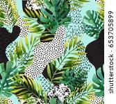 abstract summer geometric... | Shutterstock . vector #653705899