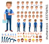 front  side  back view animated ... | Shutterstock .eps vector #653706961