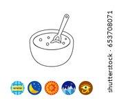 bowl with porridge line icon | Shutterstock .eps vector #653708071