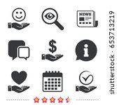 smile and hand icon. heart and... | Shutterstock .eps vector #653713219
